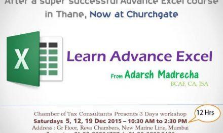 Advance excel – CTC – Dec 2015