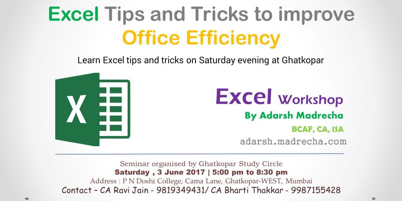 Excel Tips – Ghatkopar – June 2017
