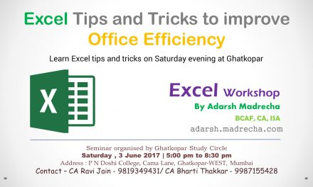 Excel Tips – Ghatkopar – June 2017