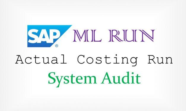 SAP ML Run System Audit