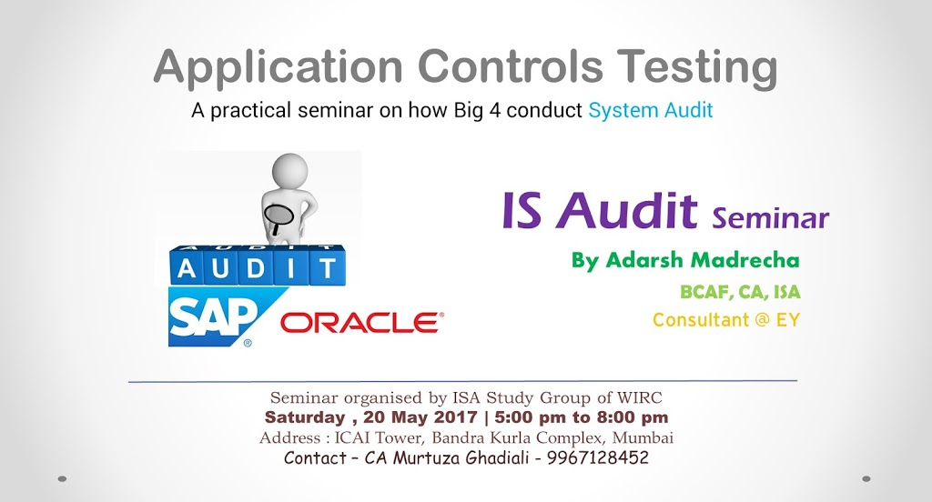 Seminar on Application Controls Testing at WIRC on 20th May