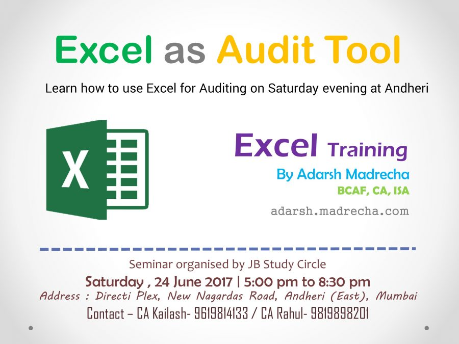 Excel as Audit Tool – Andheri – 24 June 2017