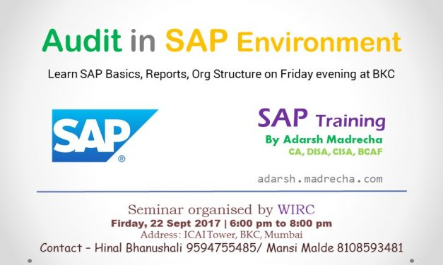 Sap & Audit In Sap Environment – WIRC – 22 Sep 2017